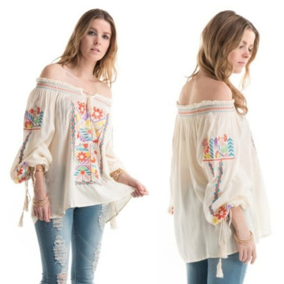 Hippie Boho Off Shoulder Peasant Blouse NWT